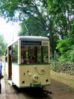 Woltersdorf/18546/stirnansicht-ksw-tw-7-an-der-endstelle Stirnansicht KSW-Tw 7 an der Endstelle S-Bahnhof Rahnsdorf, 23.5.2009