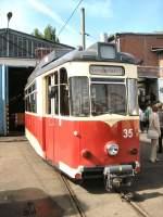 frankfurt-oder-tw-35/16363/tw-35-vor-der-wagenhalle-altes Tw 35 vor der Wagenhalle, altes Depot Bachgasse, Mai 2009