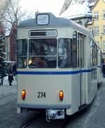 erfurt/109632/gotha-zug-richtung-rathausdomplatz-blick-beiwagen-274 Gotha-Zug Richtung Rathaus/Domplatz, Blick Beiwagen 274