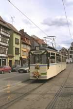 erfurt/2114/gelenkzug-176-der-evag-an-der Gelenkzug 176 der EVAG an der Hst. Domplatz im Jahre 1994