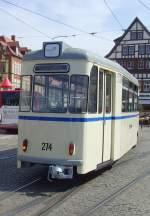 erfurt/66007/beiwagen-274-hinter-gelenkzug-178-am Beiwagen 274 /hinter Gelenkzug 178) am Domplatz, Erfurt 25.4.2010