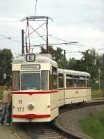 potsdam---gelenkzug/665/gotha-gelenkzug-177-in-der-endstelle-viereckremise Gotha-Gelenkzug 177 in der Endstelle Viereckremise in Potsdam, September 2007