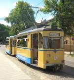 woltersdorf/18710/gotha-zug-tw-28-und-bw-90 Gotha-Zug (Tw 28 und Bw 90) in Woltersdorf, Endstelle Schleuse - 23.5.2009
