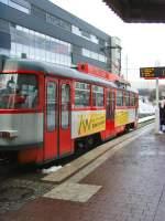 Halle - Tatra T4/46874/t3---triebwagen-an-der-haltestelle T3  - Triebwagen an der Haltestelle Hauptbahnhof Halle/Saale am 23.12.2009