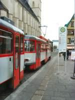 Halle - Tatra T4/47032/t4-zug-an-der-haltestelle-marktplatz-halle T4-Zug an der Haltestelle Marktplatz, Halle 28.12.2009
