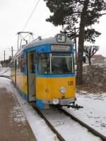 TWB Zweirichtungswagen/1302/zweirichtungswagen-der-thueringerwaldbahn-in-waltershausen-winter Zweirichtungswagen der Thüringerwaldbahn in Waltershausen, Winter 2006