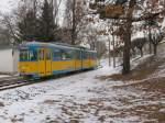 TWB Zweirichtungswagen/1308/zweirichtungswagen-der-thueringerwaldbahn-in-walterhausen-winter Zweirichtungswagen  der Thüringerwaldbahn in Walterhausen, Winter 2006