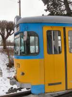 TWB Zweirichtungswagen/1363/detailansicht-zweirichtungswagen-528-an-der-endstelle Detailansicht Zweirichtungswagen 528 an der Endstelle Waltershausen bahnhof