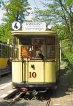 Berlin - Tw 10/17129/hist-tw-10-mit-beiwagen-in Hist. Tw 10 (mit Beiwagen) in Friedrichshagen, Endstelle Altes Wasserwerk - 10.5. 2009