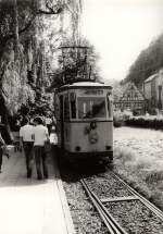 KirnitzschtalbahnTW exErfurt/116041/tw-der-kirnitzschtalbahn-in-bad-schandau Tw der Kirnitzschtalbahn in Bad Schandau (ex Erfurt), vor 1989